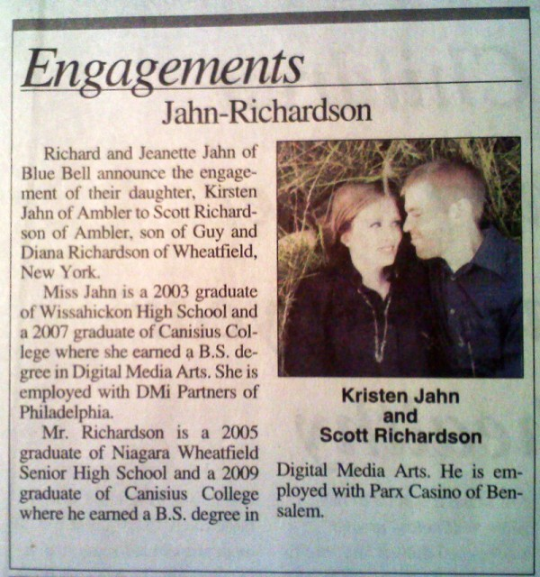 Newspaper Wedding Announcement: Engagement Announcement In The Paper!